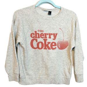 H&M Cherry Coke Gray Crew Neck Pullover Sweater